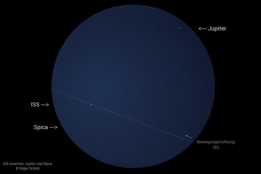 ISS zwischen Jupiter und Spica